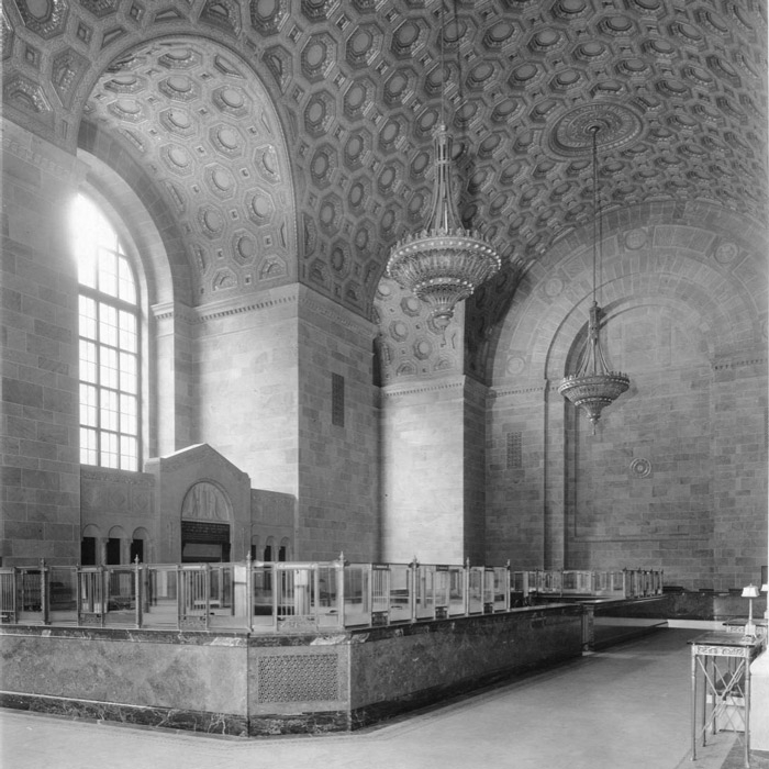 historical photo of lobby at commerce court