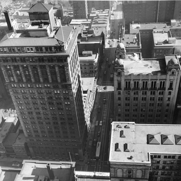 historical photo from rooftop at commerce court